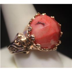 Elegant 14kt Rose Gold over Silver Coral Ring
