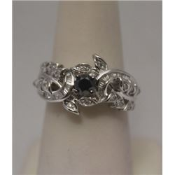 Very Fancy Black & White Diamonds & Baguettes Silver Ring