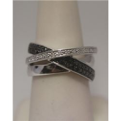 Dazzling Black & White Diamonds Silver Ring
