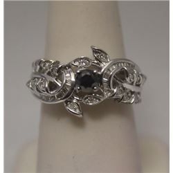 Lavish Black, White & Baguette Diamonds Silver Ring