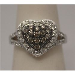 Elegant Heart Shape Champagne & White Diamonds Silver Ring