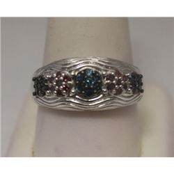 Dazzling Blue & Red Diamonds Silver Ring