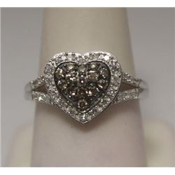 Fine Heart Shape Champagne & White Diamonds Silver Ring