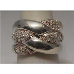 Fine 14kt Rose Gold over Silver Diamonds Ring