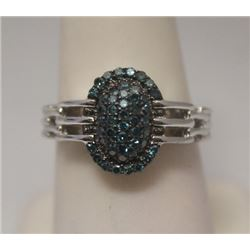 Stunning Blue Diamonds Silver Ring