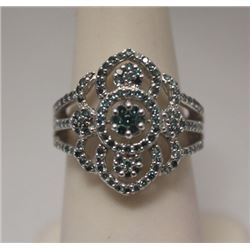 Gorgeous Blue Diamonds Silver Ring