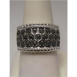 Elegant Black & White Diamonds Silver Ring