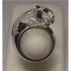 Gorgeous Wild Cat Black & White Diamonds Silver Ring