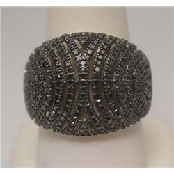 Exquisite Black Diamonds Silver Ring