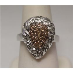 Dazzling Pear Shape Champagne & Baguette Diamonds Silver Ring