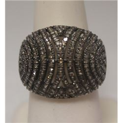 Gorgeous Champagne Diamonds Silver Ring