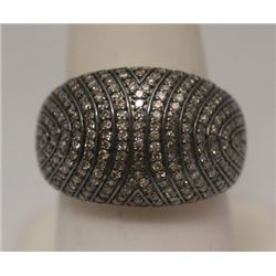 Dazzling Antique Style Black & White Diamonds Silver Ring