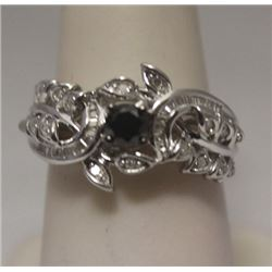 Fine Black, White, & Baguette Diamonds Silver Cape Ring