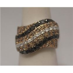 Elegant Black, Canary & White Diamonds Silver Ring