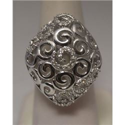 Dazzling White Diamonds Silver Ring