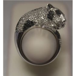 Dazzling Wild Cat Black & White Diamonds Silver Ring