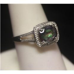 Gorgeous Russian Alexandrite & Diamonds  Silver Ring