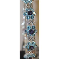 Beautiful Silver Amethyst and Topaz Bracelet