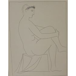 seated nude crowned with flowers lithograph  -  Picasso