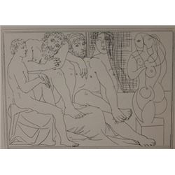 two Sculptors with male and female model lithograph -  Picasso