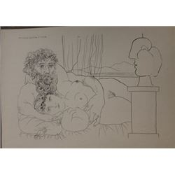 Sculptor and omdel in bed lithograph -  Picasso
