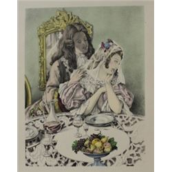Dinning with the bride - Lithograph -  legrand