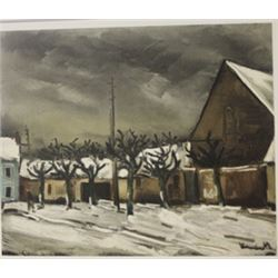 Lime Trees under snow - Lithograph -  Maurice de Vlaminck