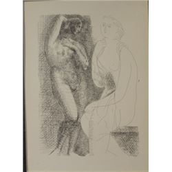 Nude before a statue lithograph -  Picasso