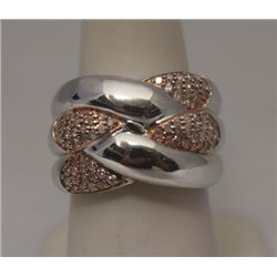 Beautiful 14kt Rose Gold over Silver White Diamonds Ring