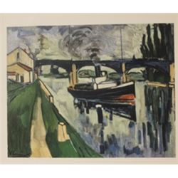 The Seine at possy - Lithograph -  Maurice de Vlaminck