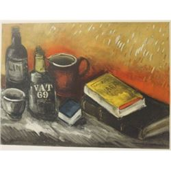 Still life with a wisky bottle - lithograph -  Maurice de Vlaminck