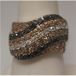 Gorgeous Black, Champagne & White Diamonds Silver Ring