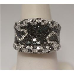 Very Fancy Black, Blue & White Diamonds Silver Ring