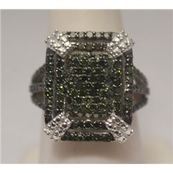 Stunning Green Diamonds Silver Ring