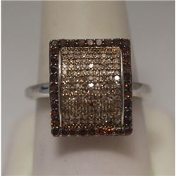 Fine Red & Champagne Diamonds Silver Ring