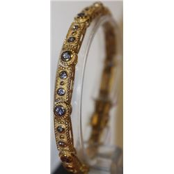 Stylish Gold over Silver Tanzanite Bracelet