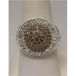 Gorgeous Champagne & White Diamonds Silver Ring