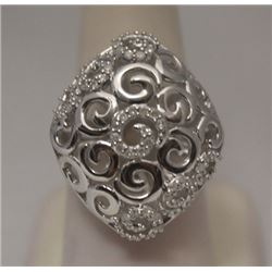 Elegant White Diamonds Silver Cape Ring