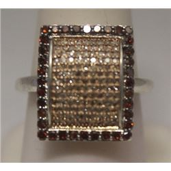 Dazzling Champagne & Red Diamonds Silver Cape Ring