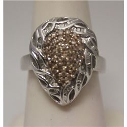 Gorgeous Pear Shape Champagne & Baguette Diamonds Silver Ring