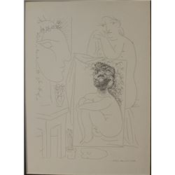 seated Nude with painting - Lithograph -  Picasso