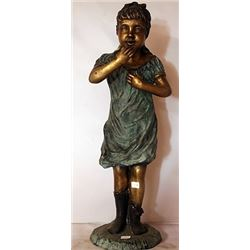 Patina Bronze Sculpture - Girl Laughing