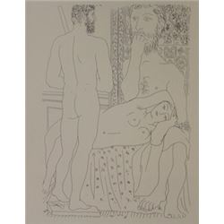 Sculptor seated and statue of man lithograph -  Picasso