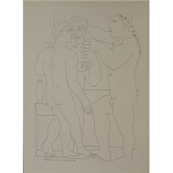 Three men standing lithograph -  Picasso