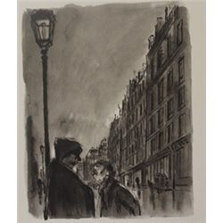 Conversing in the street - Lithograph -  Lamb