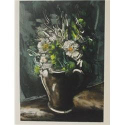 Flowers in Stone Vase - Lithograph  -  Maurice de Vlaminck