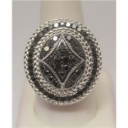 Fine Black Diamonds Silver Ring