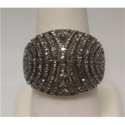 Fancy Champagne Diamonds Silver Ring
