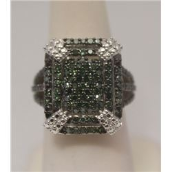 Elegant Green Diamonds Silver Ring