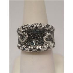 Stunning Black, Blue & White Diamonds Silver Ring